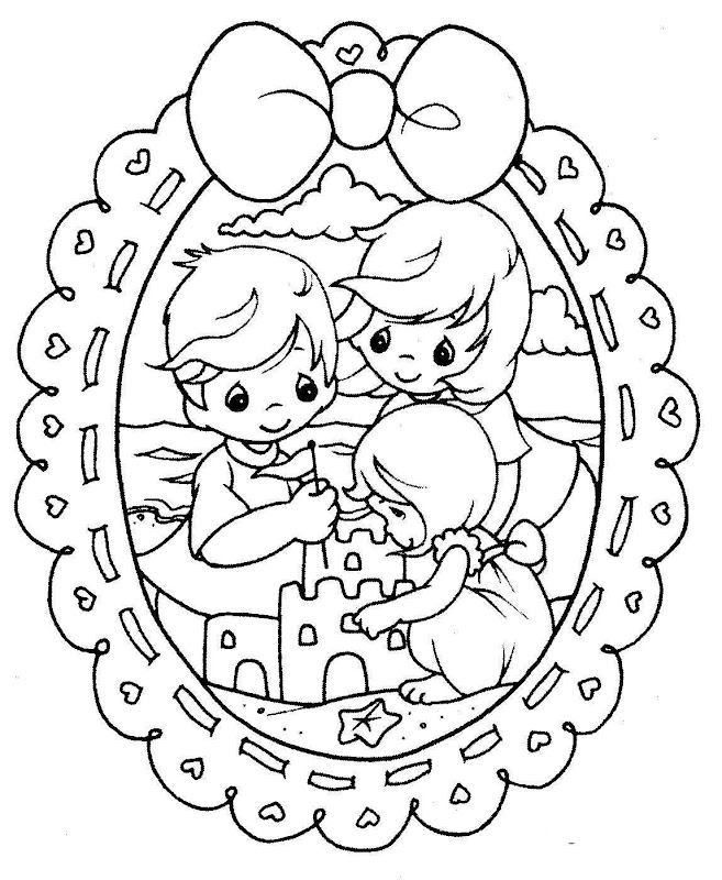 Family in the beach free precious moments for Precious moments giraffe coloring pages