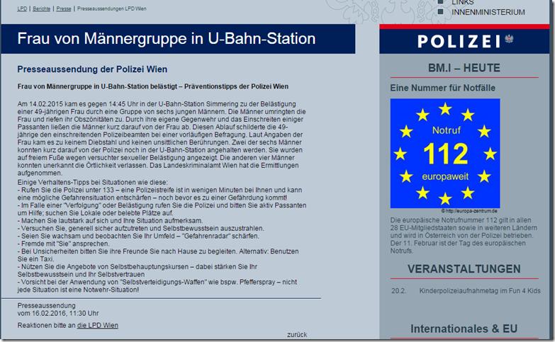 Presseaussendung Polizei Wien Männergruppe gegen Frau mit Verhaltenstipps