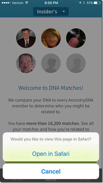 AncestryDNA app links to browser for serious tasks.