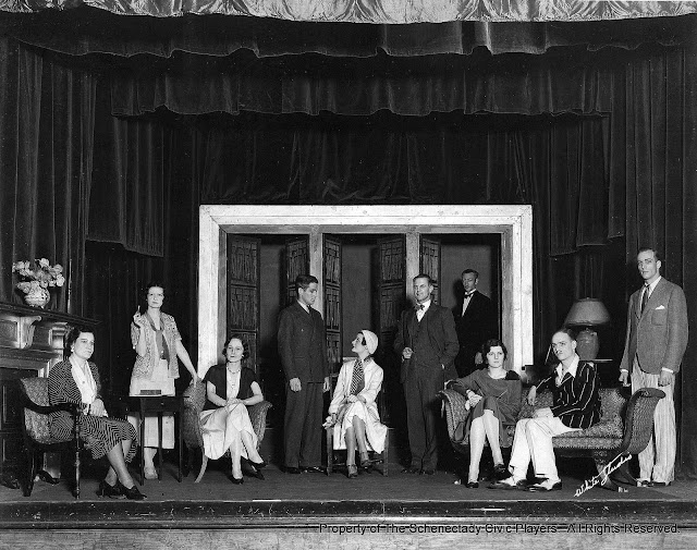 Roberta McWade, Mrs. J. Gordon Gidley, Mrs. K.E. Kjolseth, Jeremy Bagster-Collins, Mildred Sayles, J.J. Walker, William H. Jones, Bethia Doyle, F. John Everest, Edwin F. Vickery in THE LAST OF MRS. CHENEY - February 1932.  Property of The Schenectady Civic Players Theater Archive.