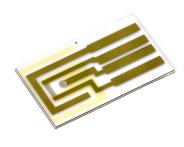 くし形電極の参照電極部に銀塩化銀インクを塗布した様子です。くし形電極のように狭い場所にインクを塗る際は、つまよう枝など先が細く、かつ、柔らかいものを用いて作業して下さい。