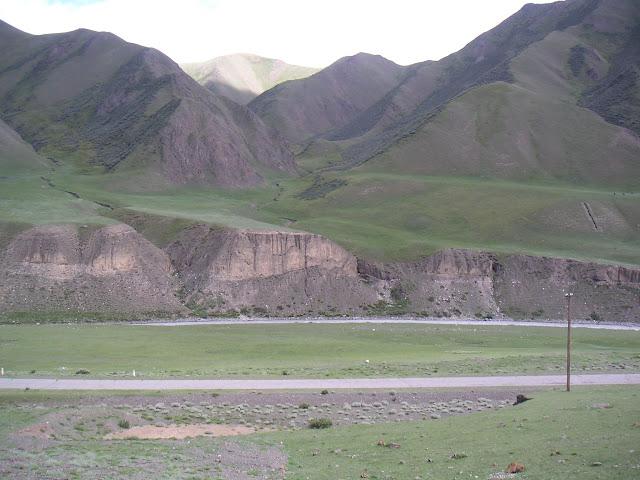 Berges de la Sary-Jaz, en aval du confluent de la rivière Ottuk, au SE du col Chongashuu (Karakol E), Terskei Ala Too, Kirghizstan, 8 juillet 2006. Photo : F. Michel