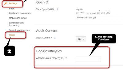 Blogger analytics Tracking ID option