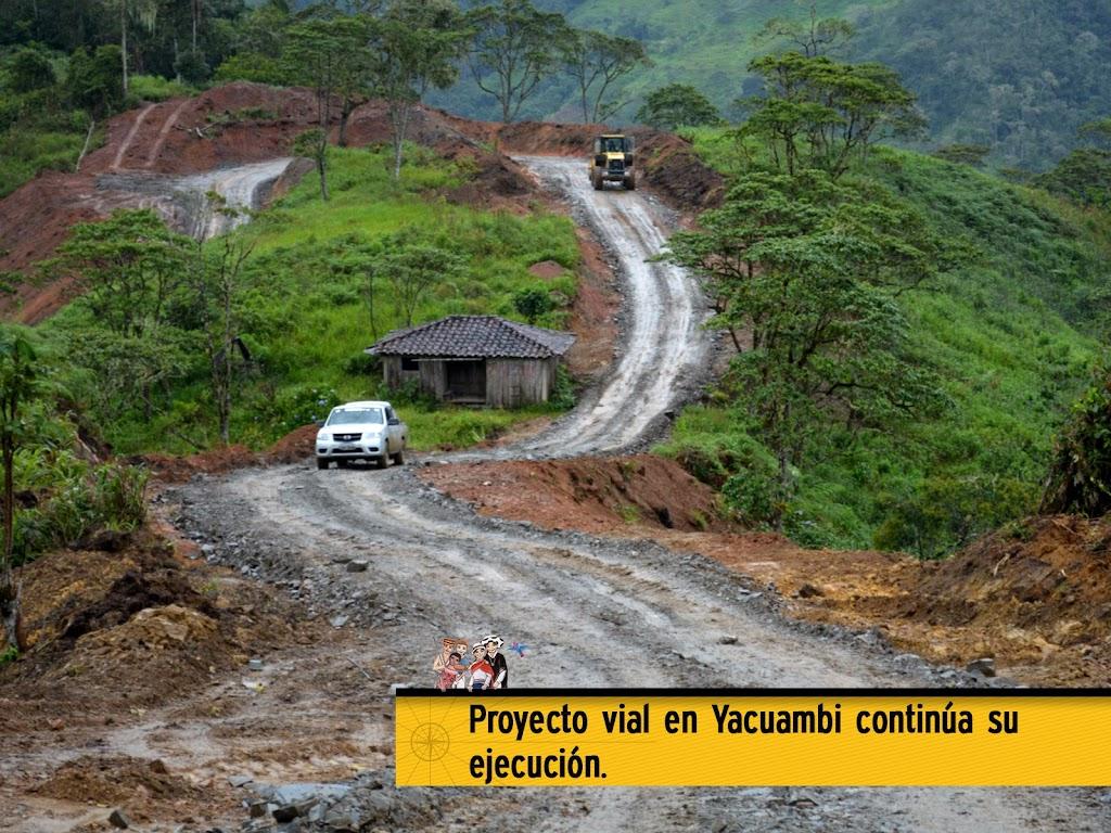 PROYECTO VIAL EN YACUAMBI CONTINÚA SU EJECUCIÓN.