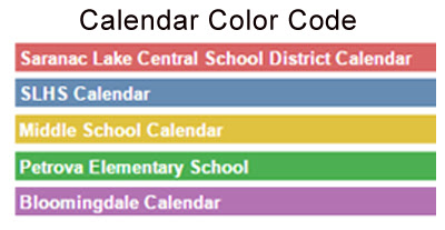 Ledger for calendar. Red is for District Calendar, Blue is for High School, Yello is for Middle School, Green is for Petrova and Purple is for Bloomingdale.