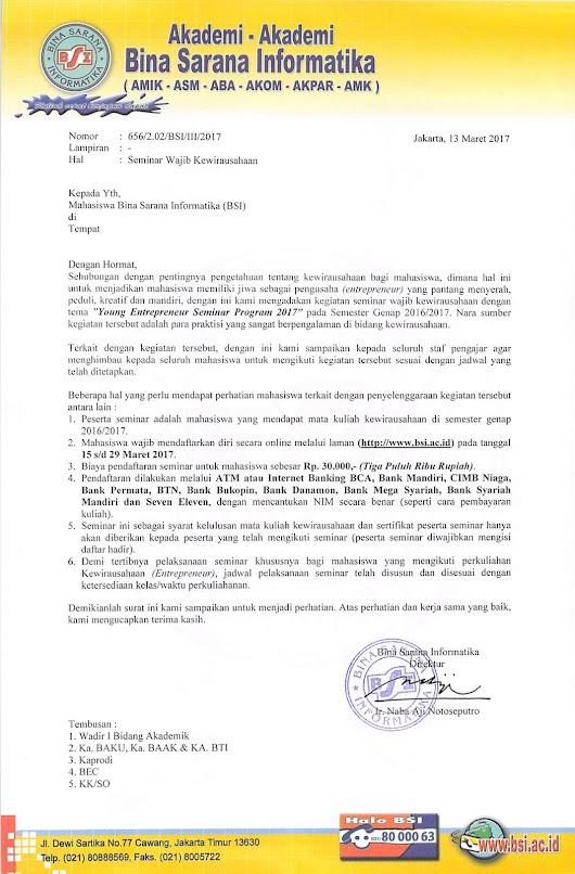 Surat Edaran Seminar Wajib Entrepreneur 2017