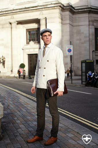 Jordon King; student; vintage hat; Reiss jacket; Spencer Hart shirt; YSL vintage tie; Woolsey trousers; Paul Smith shoes; vintage folio;