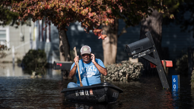 A man paddles a canoe through floodwaters caused by Hurricane Matthew. Hurricane Matthew caused widespread flooding in North Carolina and elsewhere after it hit the southeastern U.S. in October 2016. The 2017 season could be similar to 2016, NOAA says. Photo: Sean Rayford / Getty Images