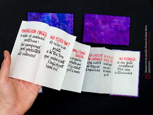 Llibres fets a mida, manuscrits, en acordió.