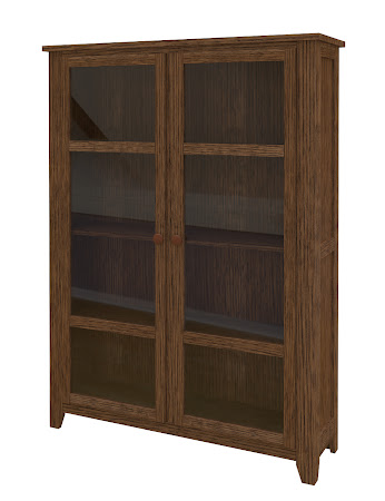 Shaker Glass Door Bookshelf in Hayes Quarter Sawn Oak