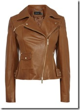 Karen Millen tan leather biker jacket