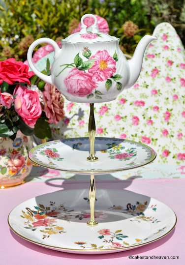 mad tea party vintage china teapot top cake stand