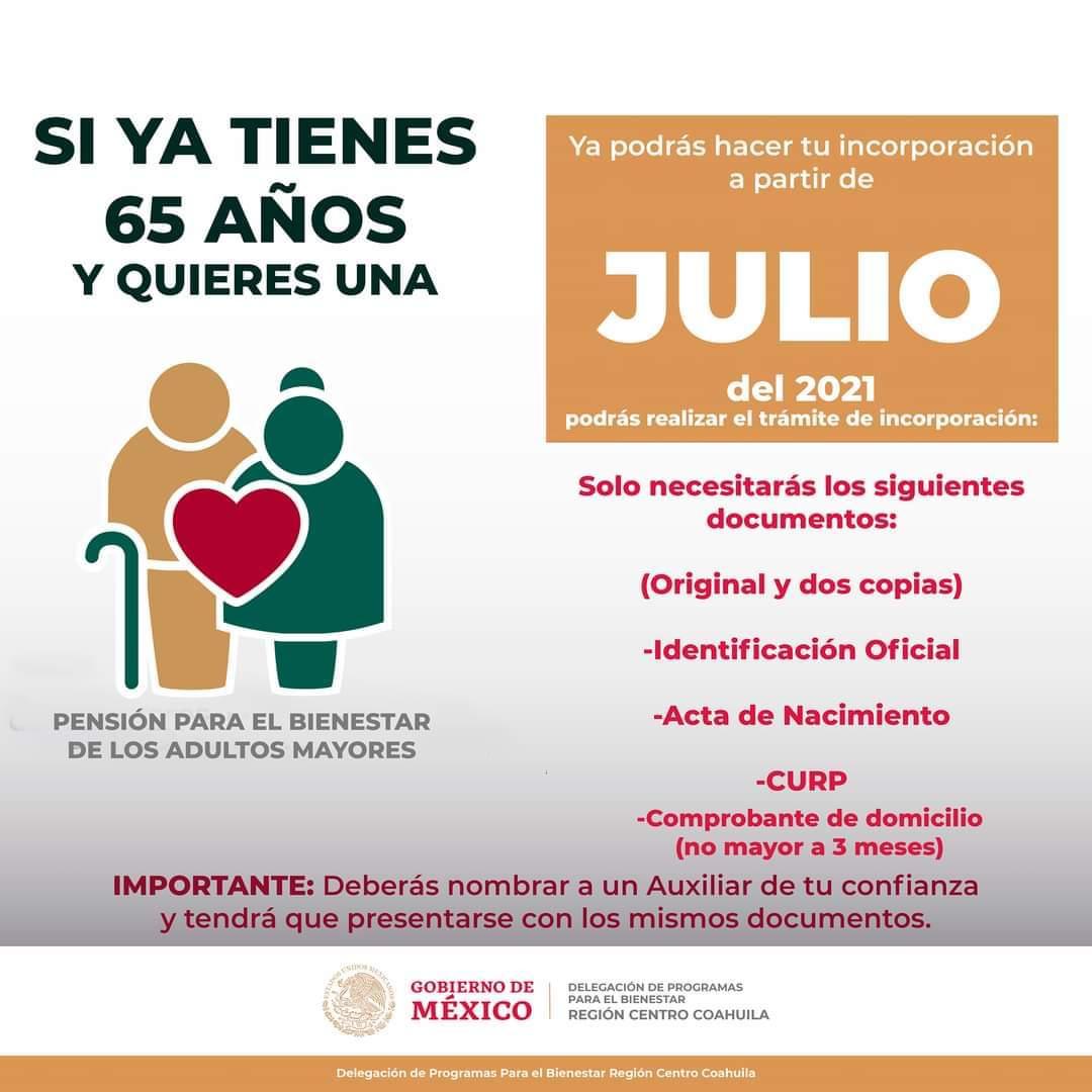 El mexiquense Hoy: En julio se abre el registro para pensión de adultos  mayores 65 y más del Gobierno Federal