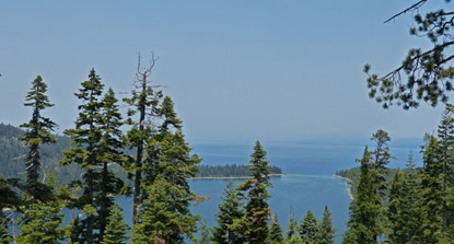 Lake Tahoe from Emerald Bay through smoke