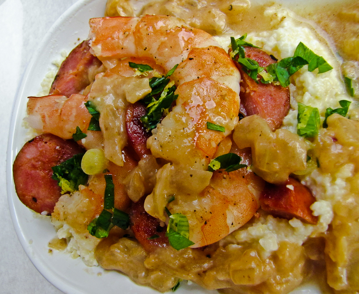 Shrimp And Andouille With Grits