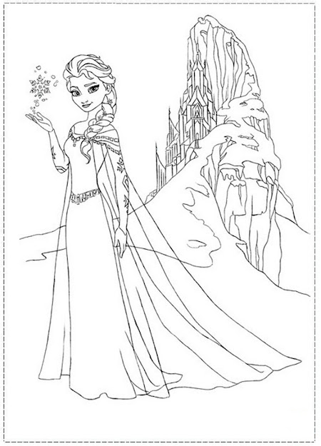 Elsa Coloring Pages Castle And Her Ice Frozen Picture