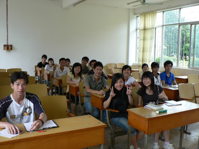 students in classroom at Guangxi Normal University for Nationalities in Longzhou, China