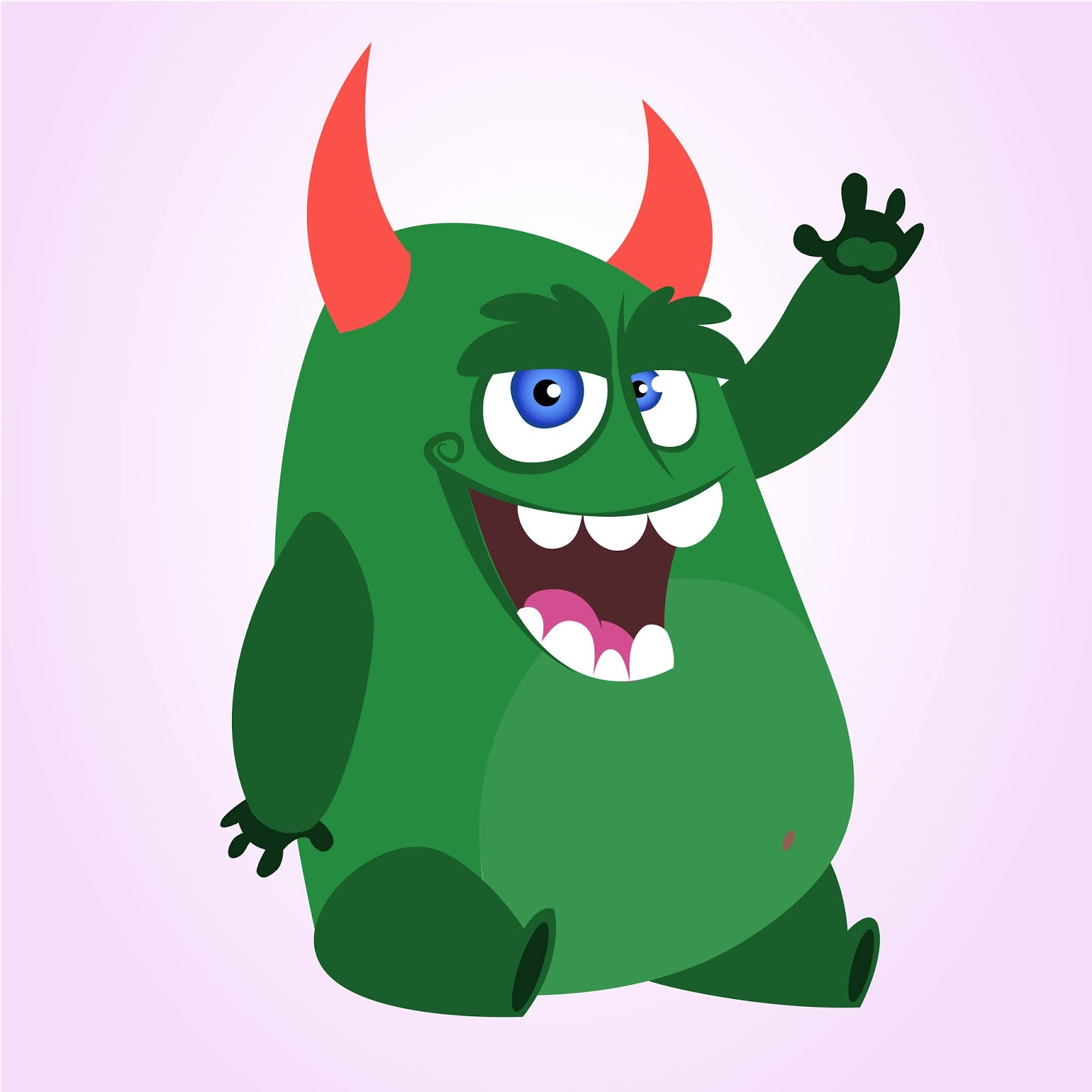 Funny Cartoon Monster Waving Vector Illustration Halloween Free Download Vector CDR, AI, EPS and PNG Formats