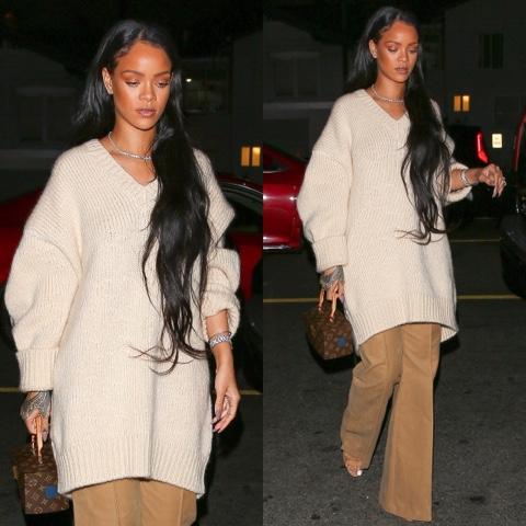 Rihanna wears Fall 2016 Celine at Giorgio Baldi restaurant in Los Angeles