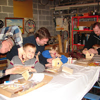 A fun Thanksgiving project in PopPop's (Jon's Dad) workshop building bird houses