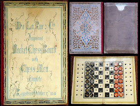 Photo: CH375 De La Rue 'Improved Pocket Chess Board' Reg October 17th 1846  DLR started producing chess products with the Roget Pocket Chessboard, registered in April 1846 - a folding card board with printed pieces slotting into it. This was  shortly after Roget had been with Longmans to produce it's almost identical Economic Chessboard, registered in Nov.1845 (see later image) .   The DLR Improved Pocket Chessboard (example above)  was markedly different from both Roget versions, in that, although made of card, the pieces were of a stud-type.   It is not known how long this board was in production, but, according to research by Jim Joannou, at the Great Exhibition in 1851, DLR were exhibiting the Longman's Roget board!    However, DLR did not give up on the stud-design, reintroducing it in more substantial form in the 1880's.   The design of the 1846 case above is very similar to (albeit thicker - at 0.822in / 20.9mm - than) that employed in the later pocket sets introduced by DLR, and designed by Owen Jones.