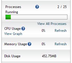 Statistik resource server pada sidebar