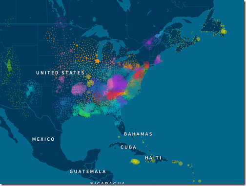 North American Genetic Communities map from AncestryDNA