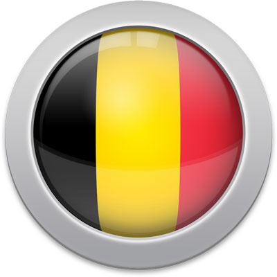 Belgian flag icon with a silver frame