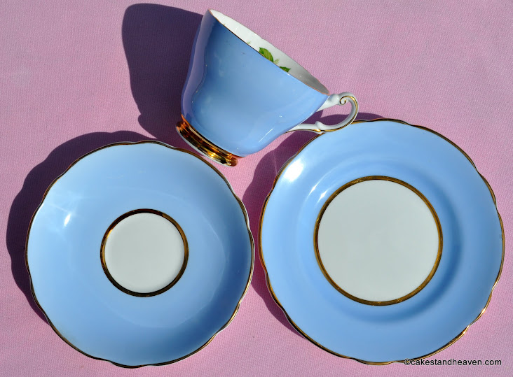 Harleigh Blue teacup, saucer, tea plate trio