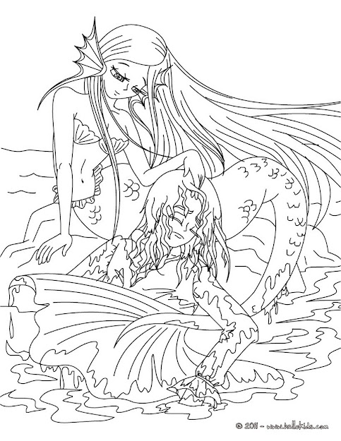 Realistic Mermaid Coloring Pages For Adults Sketch Templates