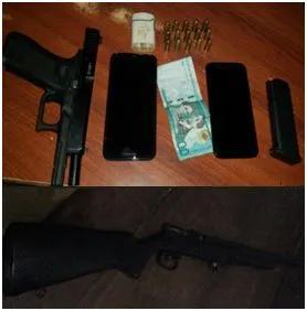 Apresan cuatro personas con presunta droga y armas de fuego en Esperanza y Guayubín.