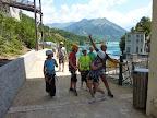 Close to the Sautet lake, Via ferrata of Sautet Dam, Trieves mountain range above Grenoble and OIsans mountains