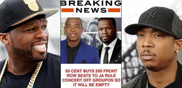 50 Cent Buys 200 Seats At Ja Rule's Concert To Make The Venue Empty