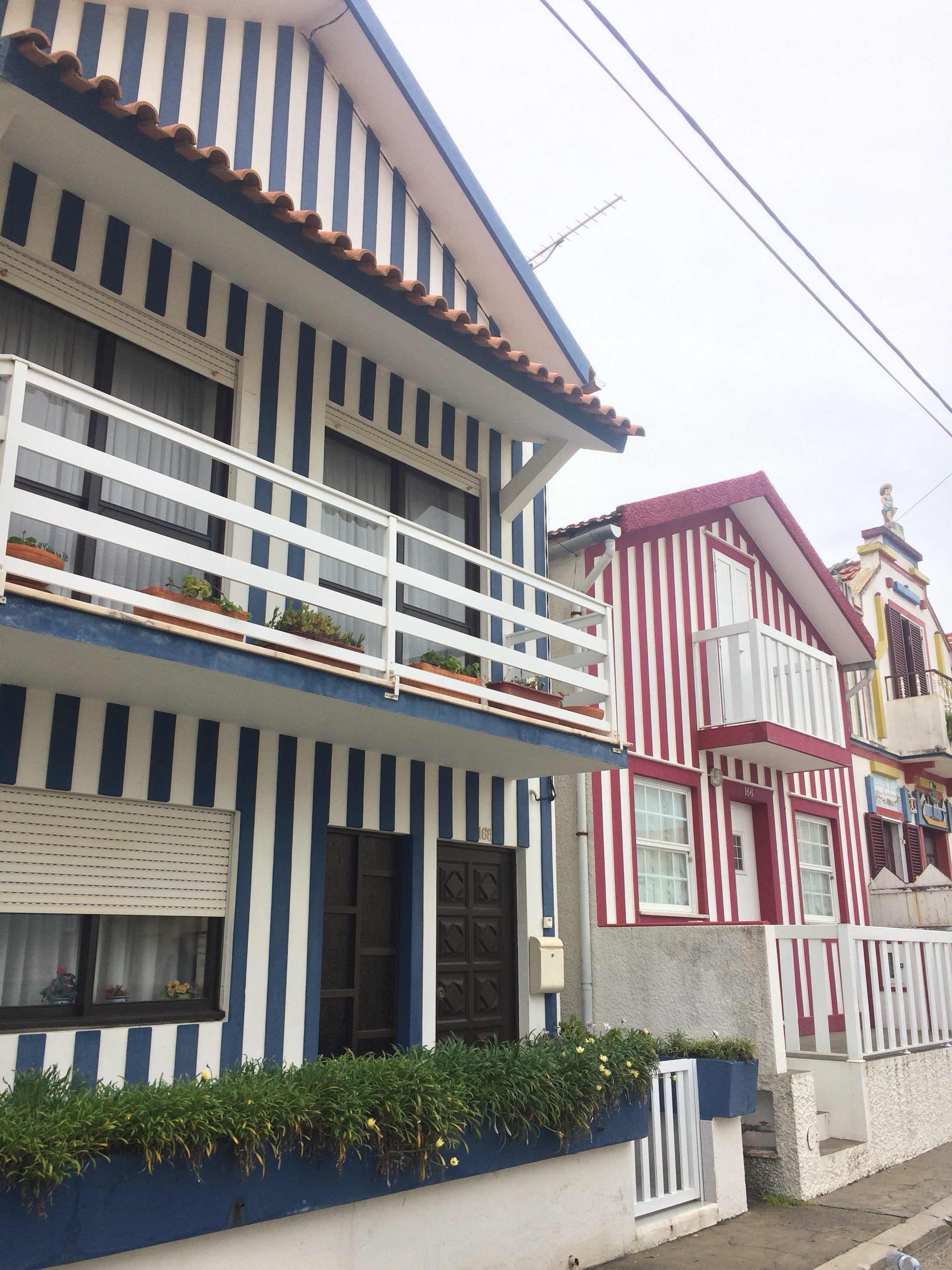 Striped houses in Costa Nova. The effect in town was sometimes by tiles, sometimes paint.