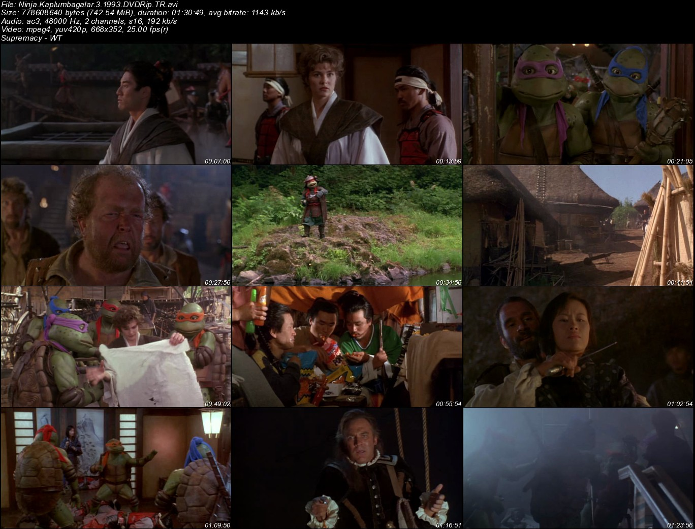 Ninja Kaplumbağalar 3 - 1993 Türkçe Dublaj DVDRip Tek Link