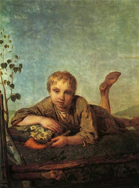 Alexei Venetsianov - A Herd-Boy with a Pipe