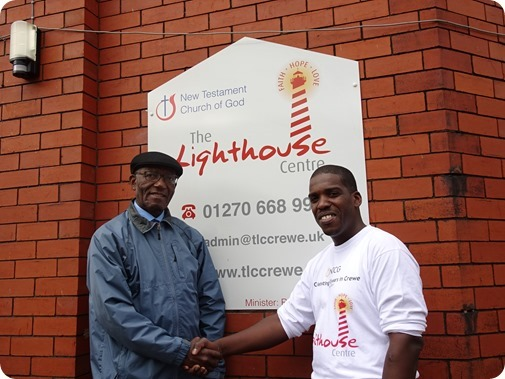 The first pastor of NTCG Crewe -  Rev Glenford Hutchinson (left) with The Lighthouse Centre pastor Rev David  Edwards