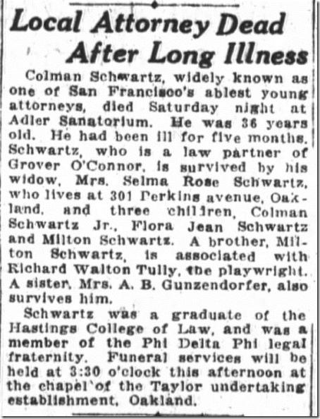 Colman Schwartz Obituary SF Chronicle 9_27_1920 pg 2