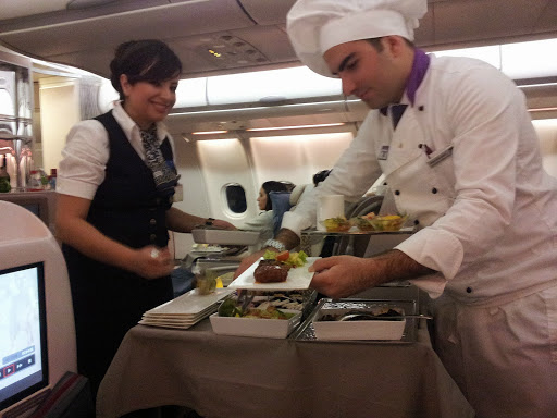 Our flying chef with Turkish Airlines. From What's It Really Like to Fly Turkish Airlines Business Class?