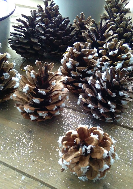 pinecones decorated waiting to dry