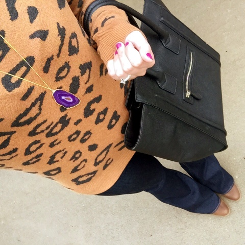 rocksbox, how to wear flare jeans, leopard sweater