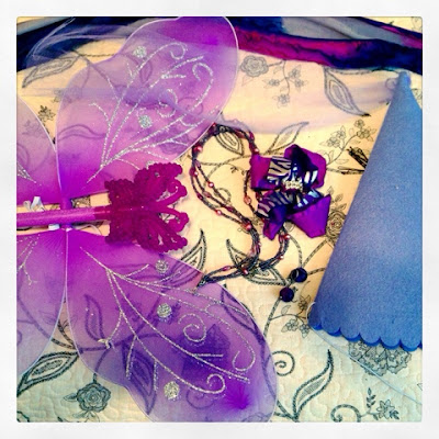 Purple Princess Fairy Costume Pieces from the Dollar Tree