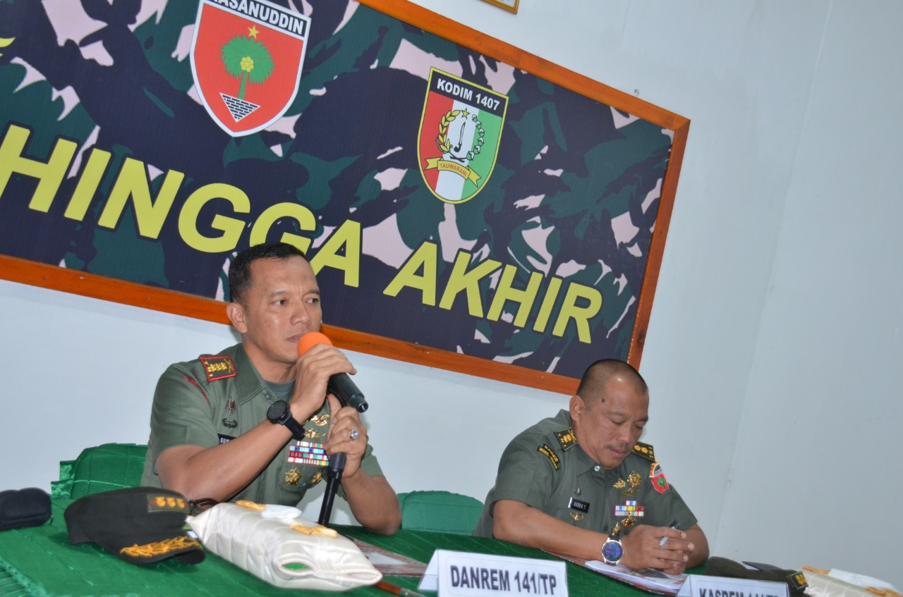Danrem 141 Toddopuli Pimpin Rakor Pembentukan Panitia Hut TNI Ke 74