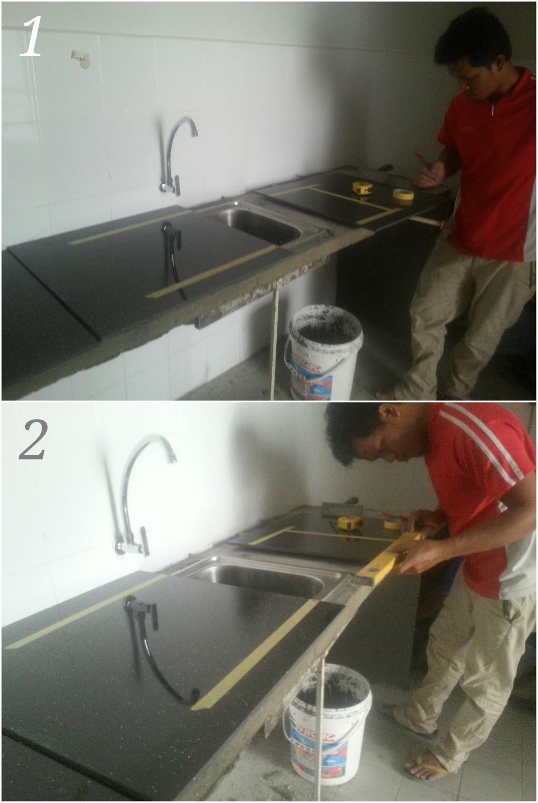 Mengukur Jubin Untuk Di Potong Sesuai Lubang Sinki