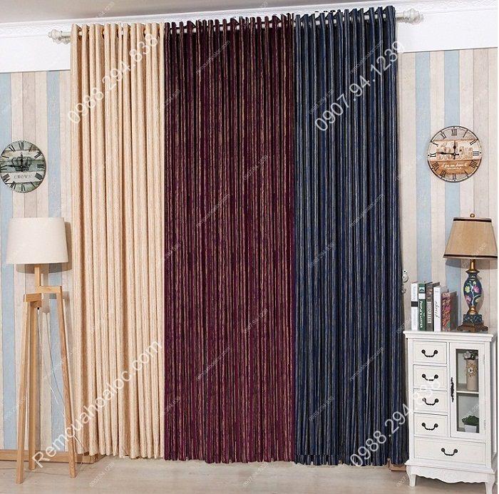 Rèm cửa đẹp hà nội cao cấp một màu nhung nỉ kẻ  16