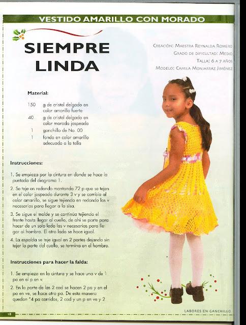 As Receitas De Crochê Vestido De Croche Para Menina Tam 6 Anos