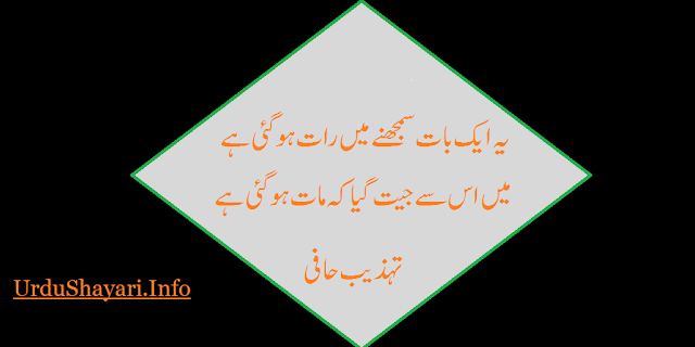 best two line shayari by Tehzeeb Hafiz with images for shor status