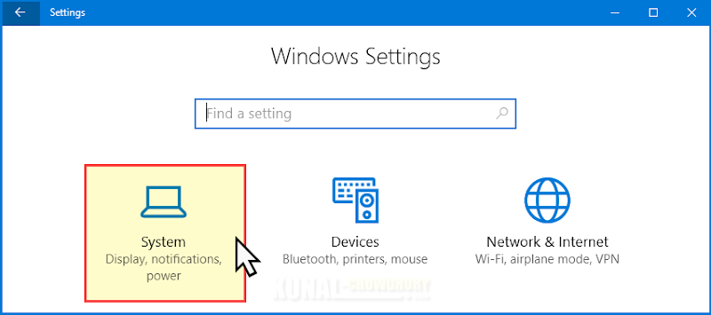 Windows 10 System Settings (www.kunal-chowdhury.com)