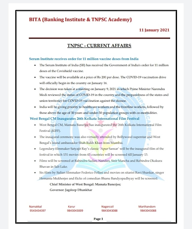 TNPSC Exam - Today Current  Affairs By BITA Academy ( 11 January  2021 )