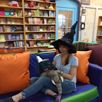 Lauren Myracle kicks back for some leisurely reading at blue manatee